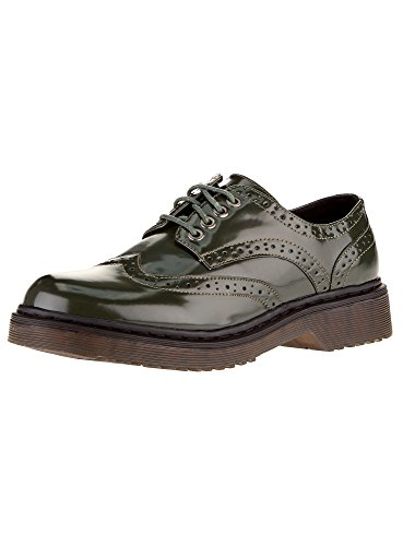 Tipo Collection Piel Verde 6900N Zapatos Sintética de Mujer oodji Oxford qaw7v
