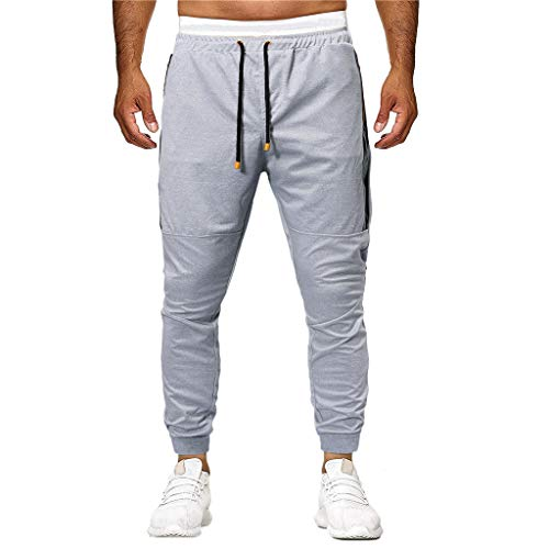 LONGDAY Tapered Athletic Running Workout Sweatpants with Pockets Casual Men's Casual Skinny Jogging Harem Pants