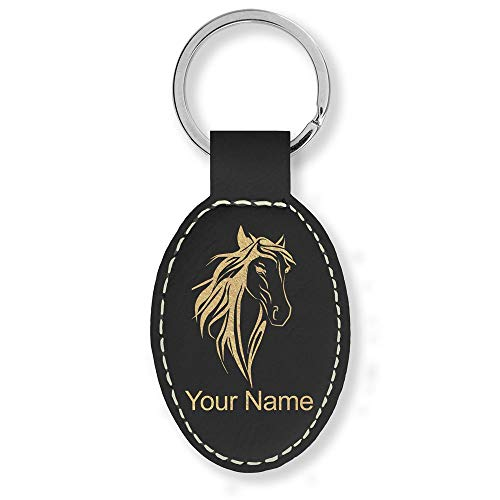 Oval Keychain, Horse Head 3, Personalized Engraving Included (Black with Gold)