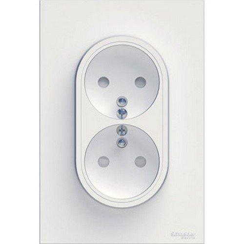 Schneider Electric SC5S52A089 Odace - Marco embellecedor para enchufes (2 orificios, con toma de tierra, 230 V), color aluminio: Amazon.es: Industria, ...
