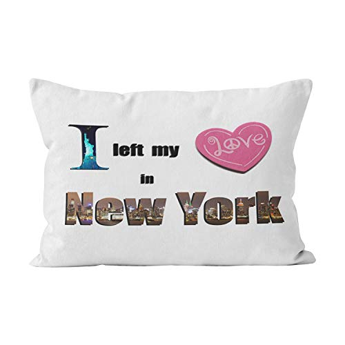 Suike I Left My Heart in New York Love Gift Funny Hidden Zipper Home Decorative Rectangle Throw Pillow Cover Cushion Case Queen 20x30 Inch One Side Design Printed Pillowcase