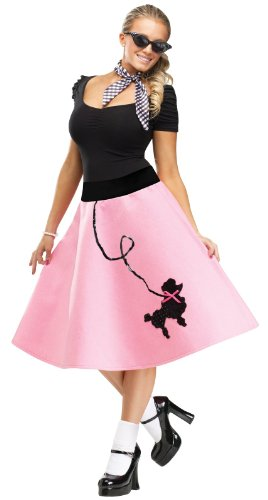 FunWorld Poodle Skirt, Pink/Black, Small/Medium 2-8 Costume (Holo 2 Costumes)