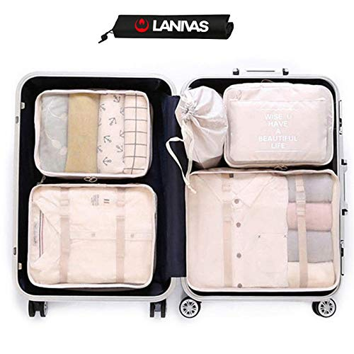 Travel Cubes,Lanivas 7 Set Clothes Storage Bags Pouches for Suitcase Backpack ()