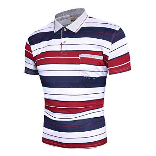 Tiger Striped Polo Shirt - Dry fit Polo Shirts for Men Short Sleeve Regular Fit Striped Polo Shirt with Pocket Mens Casual Summer 2019