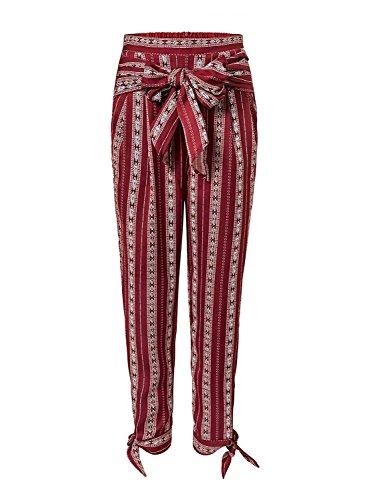 High Spiaggia Spacco Waist Casual Tempo Bendare Elegante Giovane Pantaloni Moda Cintura Donna Libero Stampato Inclusa Estivi Blumen Ragazze Pantalone nwYRqvf46