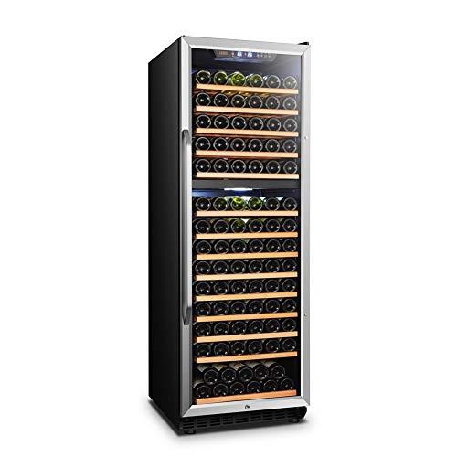 LANBO 160 bottles red White Wine Cooler Chiller Counter top Wine Cellar cabinet with Digital control Freestanding Refrigerator Glass Door Quiet Operation Fridge,Premium Stainless ()