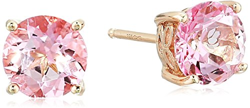 - Rose Gold Plated Sterling Silver Baby Pink Topaz Stud Earrings made with Swarovski Topaz Gemstones