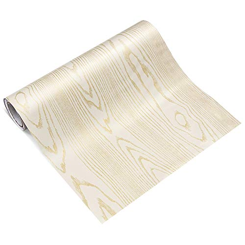 FampU Faux Wood Grain Contact Paper Self Adhesive Vinyl Shelf Liner Covering for Kitchen Countertop Cabinets Drawer Furniture Wall Decal 234quot Wx117 L WhiteGold Sandalwood