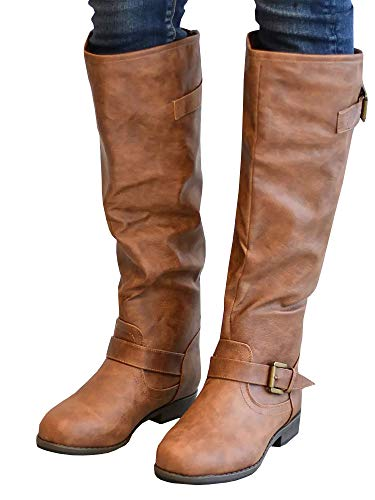 Ermonn Womens Knee High Riding Boots Wide Calf Buckle Strap Chunky Low Heel Leather Boots Z-brown