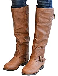 Womens Mid Calf Knee High Winter Cowgirl Boots Tall Riding Leather Buckle Zipper Flat Shoes