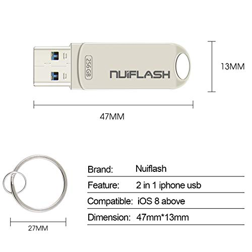 USB Flash Drive for iPhone 256GB Photo Stick Memory Stick USB 3.0 External Storage nuiflash Thumb Drive Compatiable with iPhone/iPad/Mac (256GB-silver)
