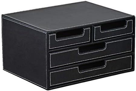 Qukick ハイグレードレザーデスクトップファイル引き出しキャビネットオフィスの破片仕上げストレージボックス (色 : Black Three)