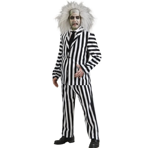 Beetlejuice Deluxe Costume, Black/White, X-Large - Horror Movies Costumes