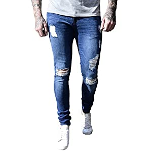 XARAZA Men's Ripped Distressed Full Length Skinny Jeans Denim Pants With Holes