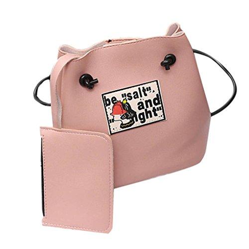 Bovake - Bolso mochila  de Piel para mujer Rosa