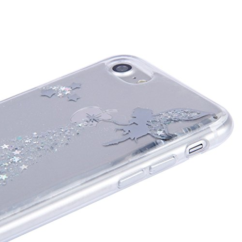 iPhone 7 Case Transparent Glitzer Silikon Case,iPhone 7 Glitzer Transparent Hülle,iPhone 7 Clear TPU Case Hülle Cristall Silikon Gel Schutzhülle Etui für iPhone 7 4.7 Zoll,EMAXELERS iPhone 7 (4.7 Zoll Angel Girl 4