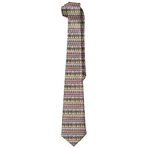 (Jadetian Novelty Men's Wide Tie Long Necktie Mosaic Stripe Pattern Printed Polyester Silk Tie)