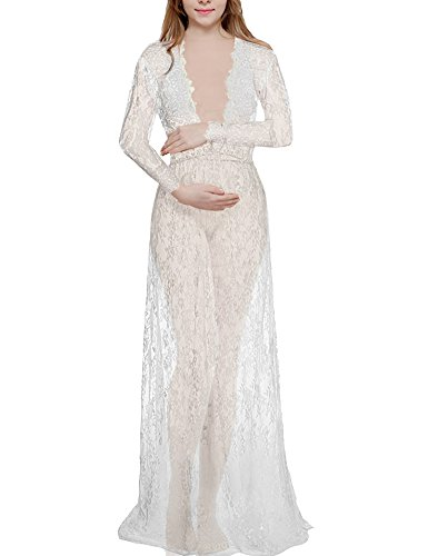 [Saslax Women's Deep V-Neck Long Sleeve Lace See-through Wedding Maxi Dress,White,Medium] (Used Plus Size Halloween Costumes)
