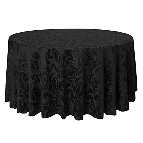 Scroll Black Leaf (Ultimate Textile (2 Pack) Damask Melrose 90-Inch Round Tablecloth - Home Dining Collection - Floral Leaf Scroll Jacquard Design, Black)