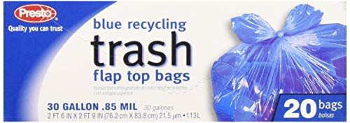 Presto Products GKL042927-1 30 Gal.lon Recycl Ing Trash Bags With Flap Top 20 Count, Blue]()