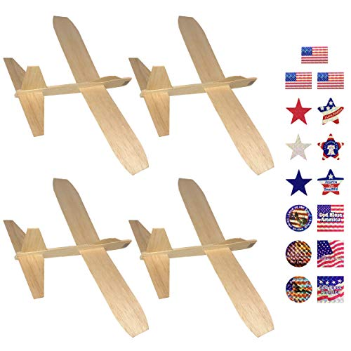 Guillow's Balsa Wood Jetfire Gliders | Wooden Model Airplane Construction Kits | 12-Inch Customizable Unfinished Blank DIY Flying Toy Planes | 4-Pack with 15 Prismatic Patriotic Stickers from KYGON ()