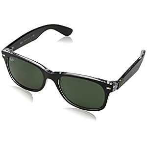 Ray-Ban RB2132 6052 New Wayfarer Color Mix Non-Polarized Sunglasses, Top Black On Transparent/Green, 52 mm