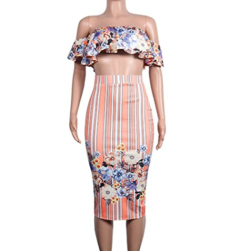 Minisoya Women Floral Strapless Ruffle Bandeau Crop Tops Striped Bodycon Maxi Skirt Cocktail Party Club Two Piece Set (Pink, XX-Large) by Minisoya (Image #4)