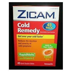 Zicam Cold Remedy Rapid Melts with Vitamin C Citrus Flavor (45 Quick Dissolve Tablets)