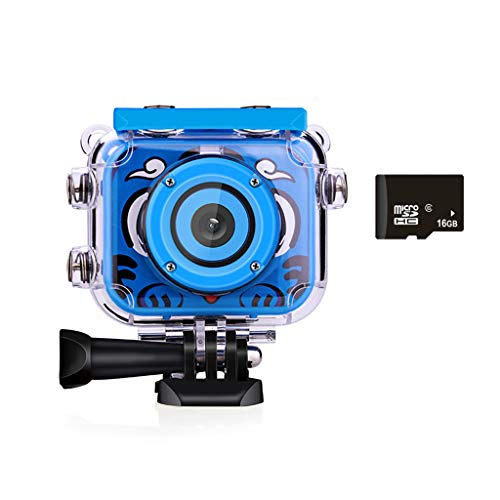 GONGting Kids Waterproof Camera Video Digital 1080 HD Screen Toys Gifts Build-in SD Card (Blue)