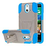 HTC One E8 Case, MPERO IMPACT X Series Dual Layered Tough Durable Shock Absorbing Silicone Polycarbonate Hybrid Kickstand Case for One E8 [Perfect Fit & Precise Port Cut Outs] - Blue / Gray