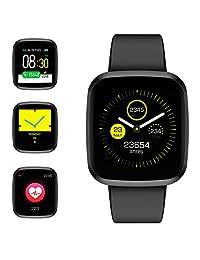 Reloj inteligente, Pulsera inteligente Monitor de Ritmo Cardíaco Presión Arterial y Oxígeno en la Sangre Reloj deportivo con Monitor de Pasos Calorías, 1.3 inch Pantalla Grande, para IOS y Android
