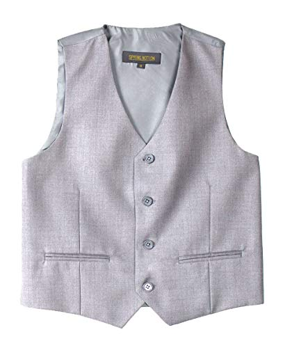 Spring Notion Big Boys' Two Button Suit 14 Light Grey Vest]()