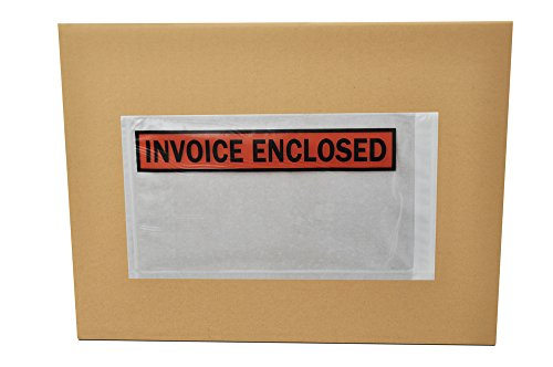 5.5x10 Invoice Enclosed Pouches, Packing List Label Envelopes, Clear Orange, Self Adhesive, 5.5 x 10 inch, 1000 Pack