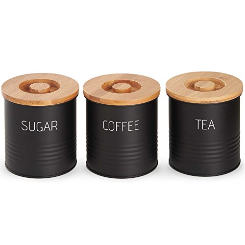 VonShef 3pc Canister Set with Bamboo Lids, Kitchen Containers for Coffee, Sugar, Tea with Airtight Seal, Modern Design Canisters, Set of 3, 1 Quart Capacity, 38oz (Tea And Containers Coffee)