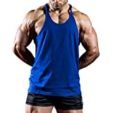 Giulot Men's Pack of Fine Ribbed Scoop Neck Sleeveless Tanks Brand Y-Back Muscle Tanktop Straight Bottom Jersey Vest Blue