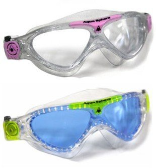 (Aqua Sphere Vista Junior 2 Pack Swim Goggles, Pink and White with Blue Lens, and Blue and Yellow with clear lens)