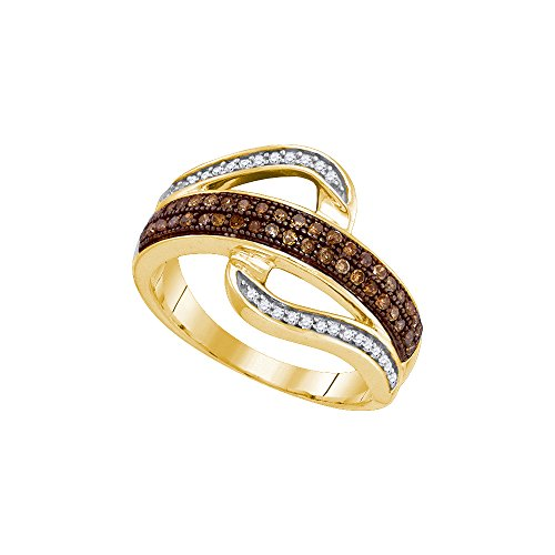 Size - 4 - Solid 10k Yellow Gold Round Chocolate Brown And White Diamond Prong Set Curved Wedding Band OR Fashion Ring (1/3 cttw) Chocolate Diamond Wedding Bands