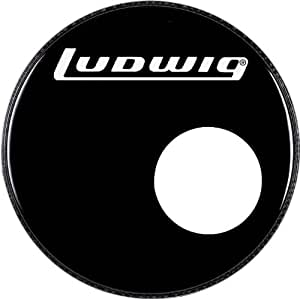 ludwig logo resonance bass drum head with port black 22 inch musical instruments. Black Bedroom Furniture Sets. Home Design Ideas
