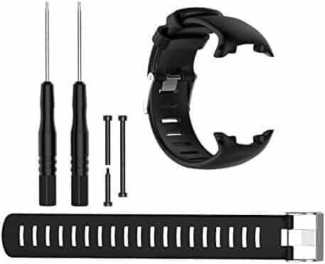 black Suunto SUUNTO D4 D4i NOVO STRAPRubber Silicone Tactical Strap Band