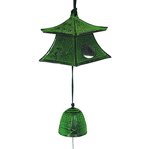 AIMshop Wind Chimes Japanese Temple Nambu Cast Iron Green Lantern Furin with Bell Ringing Sounds Window Indoor Outdoor Balcony Patio Gift Quality Product from Japan 100%