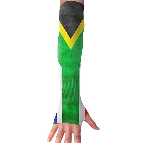 FTHX Flag Of South Africa Womens Super Long Fingerless Anti-uv Sun Protection Golf Driving Sports Arm Sun Sleeves Gloves For Cycling Cooling Sleeve by Futong Huaxia