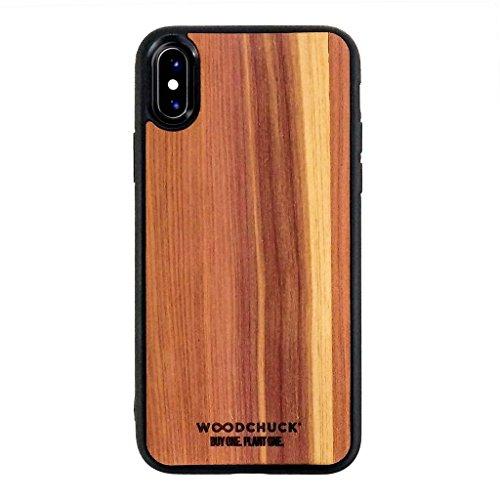 WOODCHUCK USA iPhone X Premium Wood Case, Cedar, 100% Real Wood