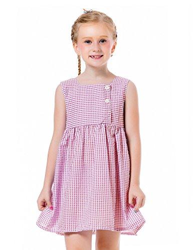 Ephex Baby Girl's Sleeveless Seersucker (Pink Seersucker Dress)