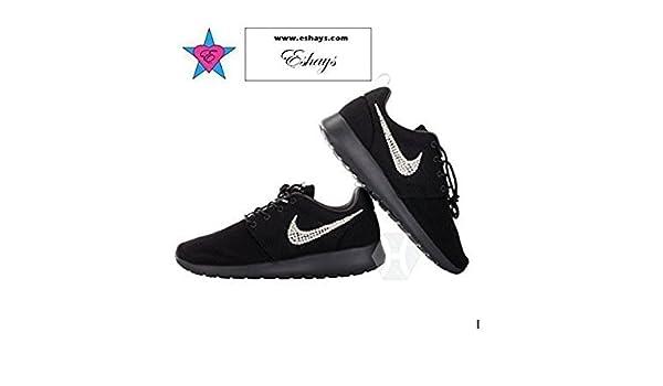 Amazon.com  Custom Crystal Swoosh Black Roshe One Black Sole Glitter  Sneakers  Handmade c72a39453