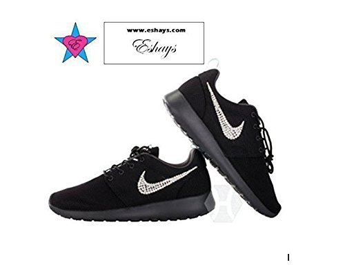 Amazon.com  Custom Crystal Swoosh Black Roshe One Black Sole Glitter  Sneakers  Handmade ac8b5f16f