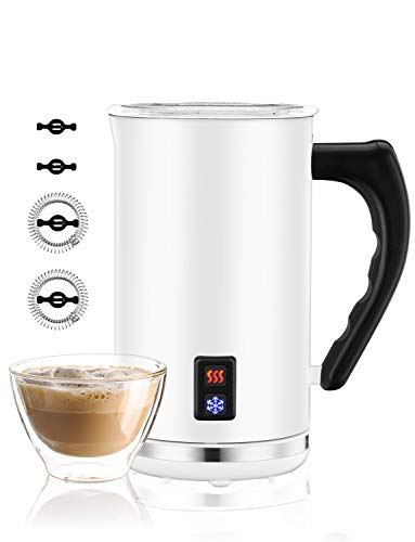 Milk Frother, Homitt Electric Automatic Stainless Steel Milk Steamer with Hot and Cold Milk Functionality, Milk Warmer for Making Latte Cappuccino, Hot Chocolate, Coffee, Creamer, FDA Approved