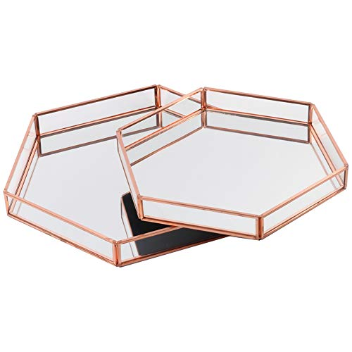 Koyal Wholesale Glass Mirror Hexagonal Trays Vanity Set of 2, Rose Gold Decorative Mirrored Hexagon Trays for Coffee Table, Bar Cart, Dresser, Bathroom, Perfume, Makeup, Wedding Centerpieces