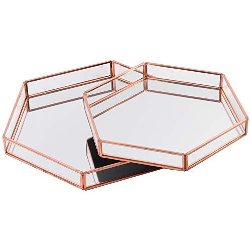Koyal Wholesale Glass Mirror Hexagonal Trays Vanity Set of 2, Rose Gold Decorative Mirrored Hexagon Trays for Coffee Table, Bar Cart, Dresser, Bathroom, Perfume, Makeup, Wedding - Wholesale Tray