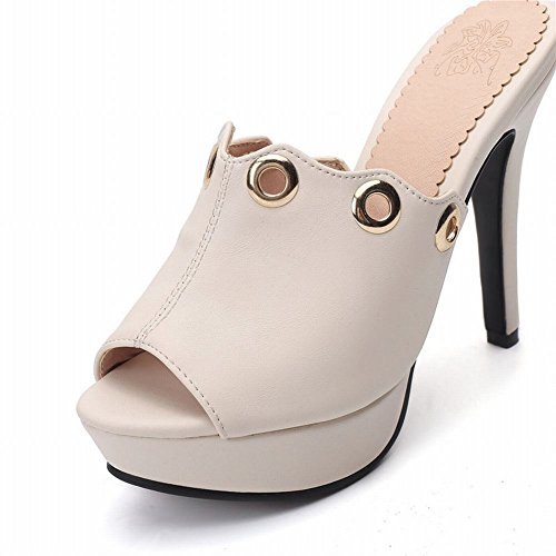 Toe Heel Eleganti Peep Sandali Donna High beige MissSaSa BqvZv