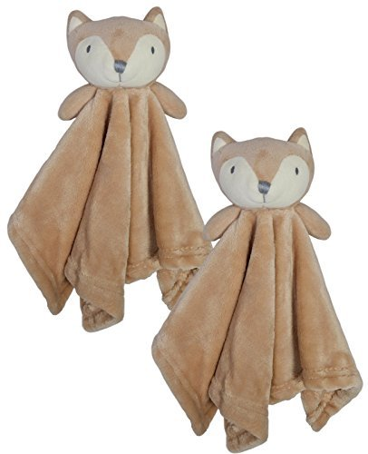 Bon Bebe Newborn Baby Huggybuddy Plush Security Blanket (2 Pack) Fox, Newborn